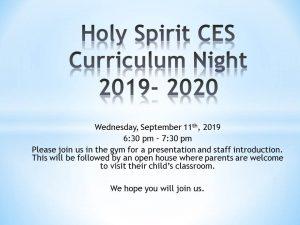Holy Spirit CES Curriculum Night